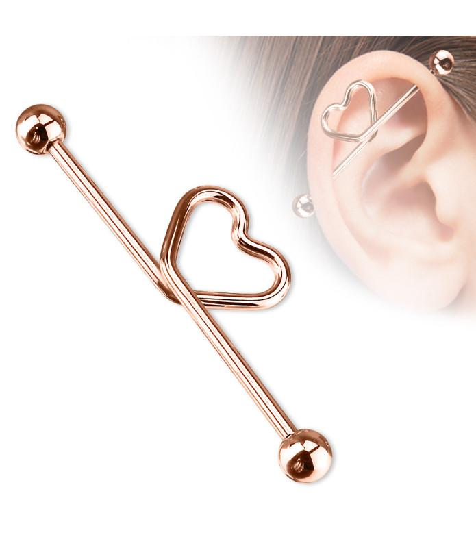 Rose Gold Industrial med Hjerte til din Ørepiercing