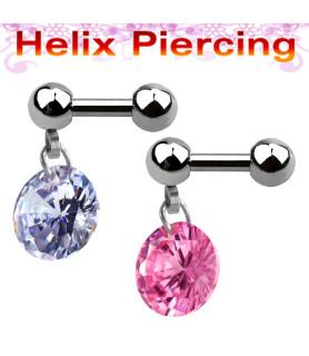 Smukt tragus eller helix piercingsmykke med stor krystal
