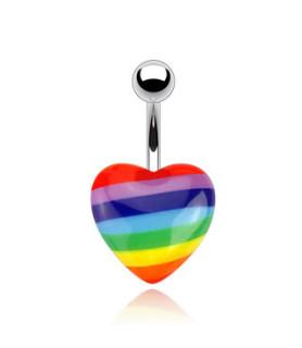 Rigtig nuser Rainbow farvet navlesmykke i hjerte design