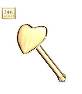 14K Næsepiercing med flot poleret Hjerte