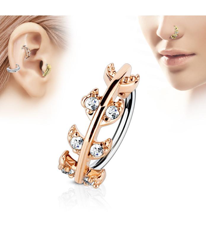 Øre - Næse Ring med flotte CZ besatte blade