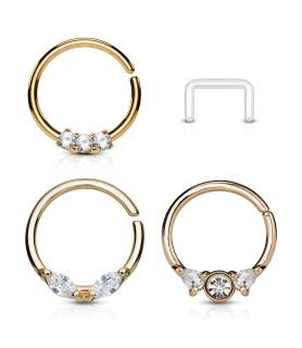 Tre Flotte Ringe i Rose Gold til Næse eller Ørepiercingen