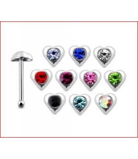 Lille hjerte-stav, næse piercing i ægte sølv, med  zirkonia