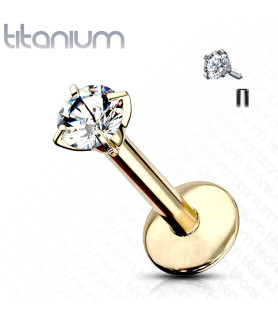 Guldbelagt Titanium med Zirconia til Læbepiercingen