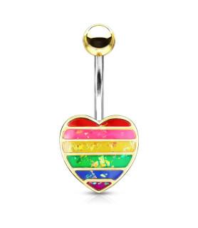 Smuk Guldbelagt Rainbow Glitter Navlesmykke