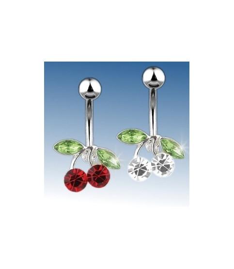 Navlepiercing cherry med røde eller klare og grønne Cz.
