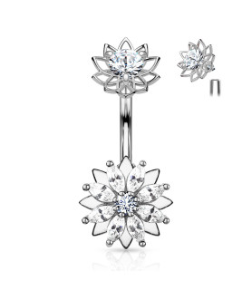 Smuk STEEL Marquise Blomst med funklende Zirconia