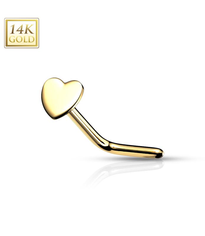 Stilfuld 14 Karats Næsepiercing med Hjerte