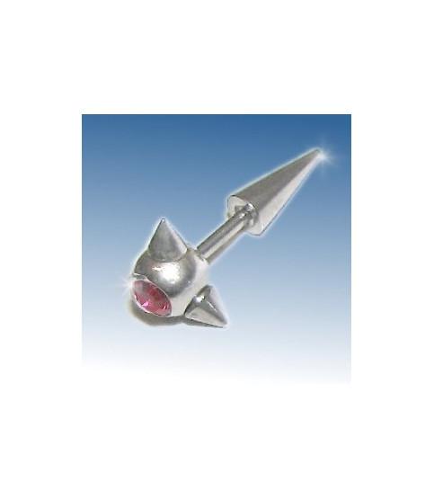 Fake stretcher piercing med Pink Cz.