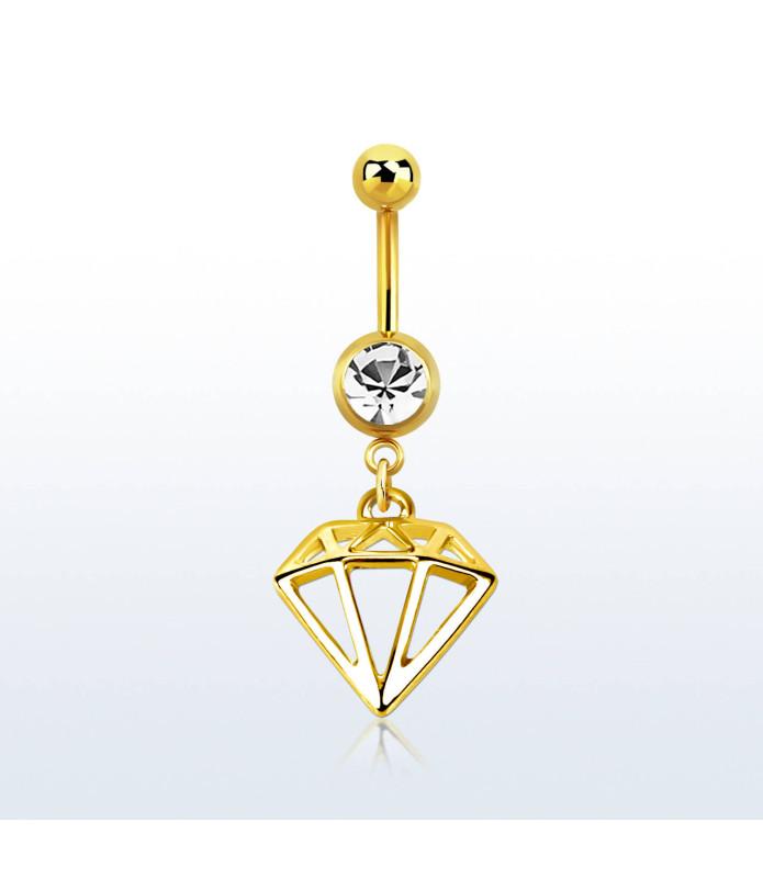 Eksklusivt Navlesmykke med Diamant formet vedhæng