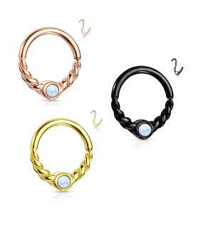 Smuk Næse - Øre ring i glat - snoet design med OPAL