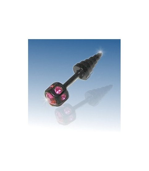 Blackline ørepiercing med Pink zirkonia