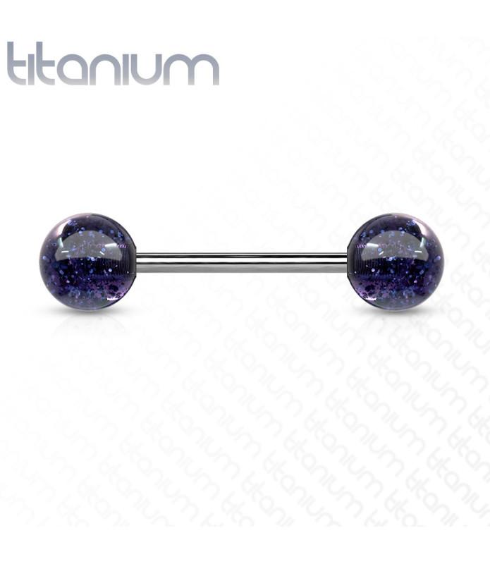 Ultra Glitter Tungepiercing med Titanium stav
