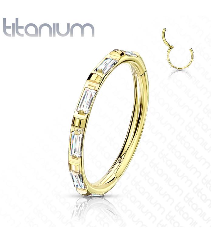 Titaniums Ring med Zirconia og Låse hængsel