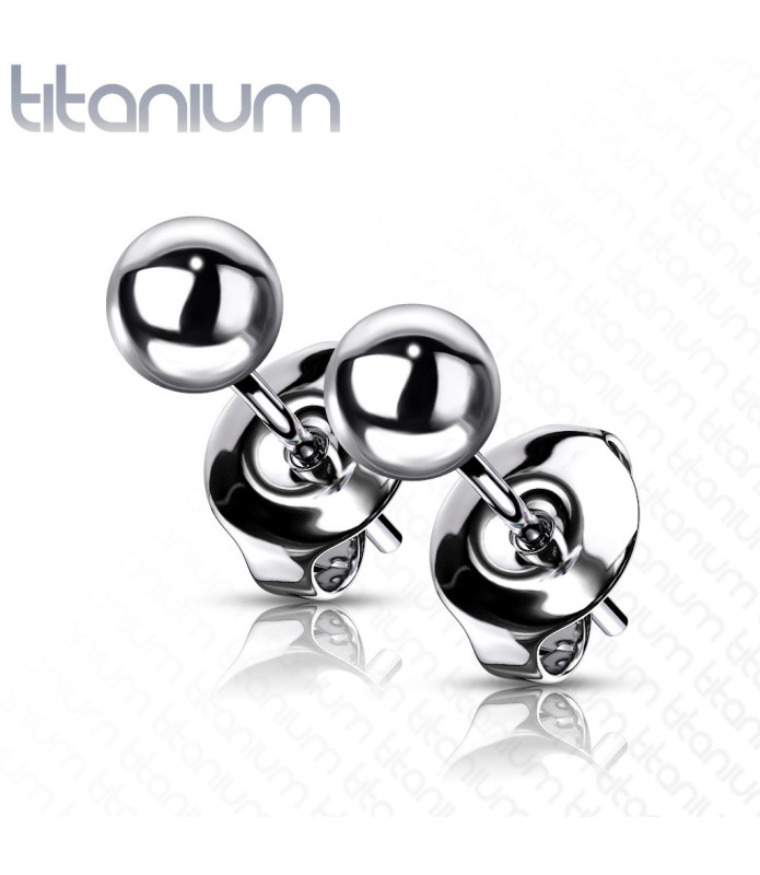 Kugle Øreringe i Ren Titanium