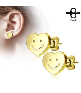Hjerte med Smiley - Guldbelagt Ørering