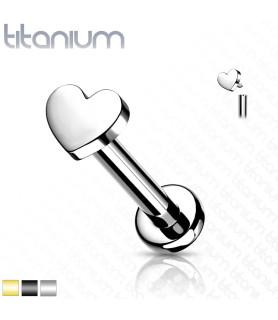 Labret i Titanium med Hjerte - Fås i tre Farver