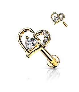 Guldbelagt Hjerte til Øre eller Næsepiercingen