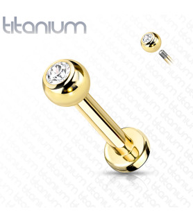 Guldbelagt Titanium Labret med Klar Zirconia