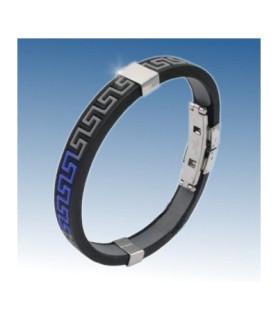 Flot armbånd i rustfri stål/gummi med blå-grå farver