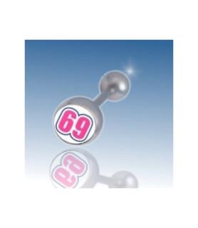 """Tungepiercing med logo """"69"""""""