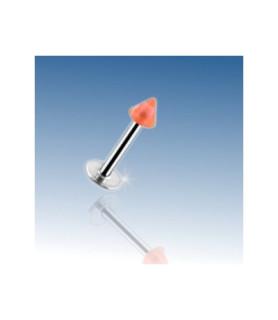 Labret - læbepiercing med Orange akryl cone