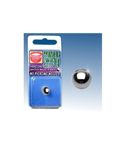 Fake tungepiercing med stål-look