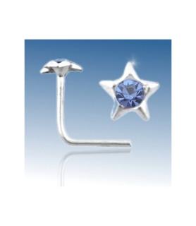 Næsepiercing i ægte massivt sølv, stjerne med Blå cz.