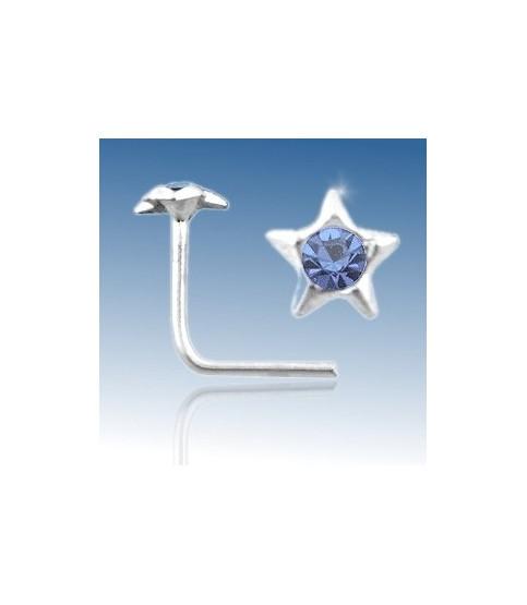 Næsepiercing i sterling sølv, stjerne med Blå cz.