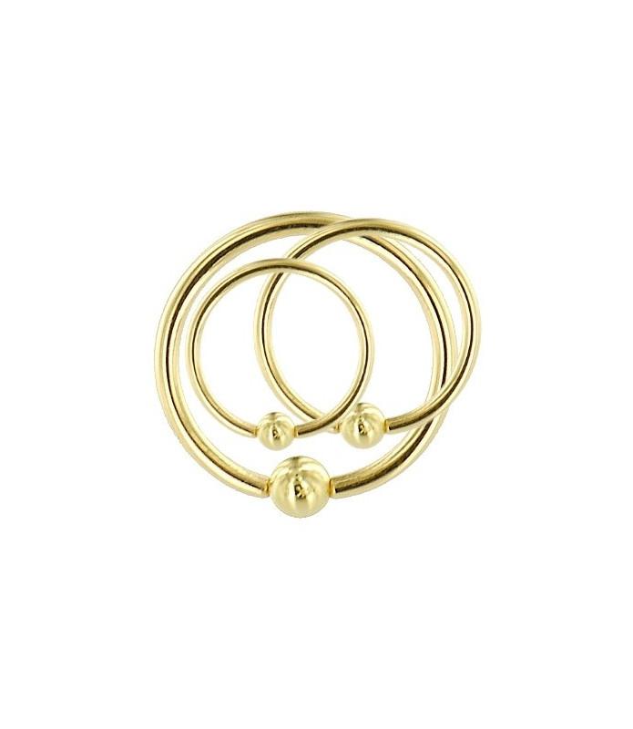 Guldbelagt Sølv Ring Closure ball dia. 7-11 mm.