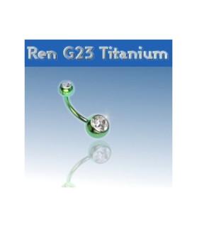 Flot Grøn titanium navlepiercing
