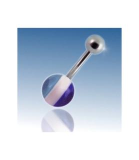 Navle piercing med Blå/hvid/lysblå akrylkugle