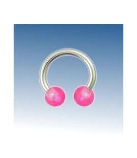 Hestesko barbel med pink acryl kugler G14