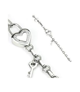 Sødt rustfrit stål armbånd med hjerteformet lås og nøgle som vedhæng.