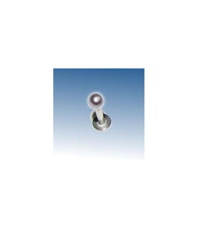 Flot Labret/Monroe bar m/steel look perle, stavlængde 8mm
