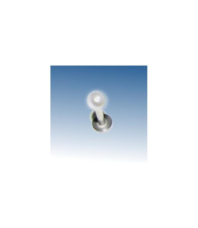 Flot Labret/Monroe bar m/hvid perle, stavlængde 8mm