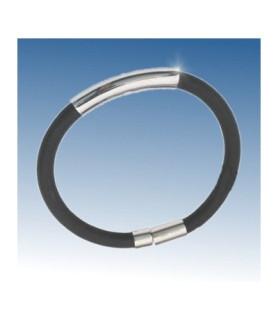 Flot stilrent armbånd i gummi og rustfri stål