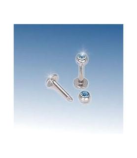 Læbe/hage piercing med Akvamarinfarvet Zirkonia
