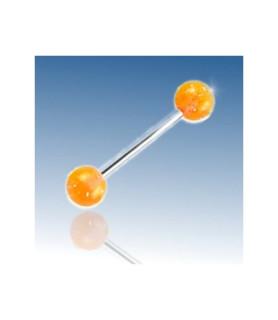 Orange glitter tungepiercing