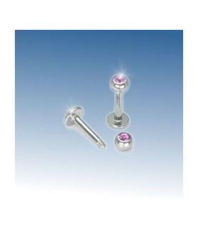 Læbe/hage piercing med Pink Zirkonia