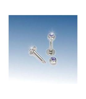 Læbe/hage piercing med blå Zirkonia