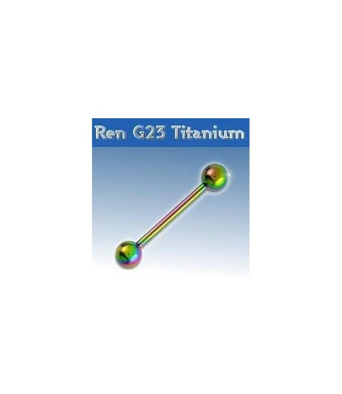 Flot rainbow titanium tungepiercing - barbel