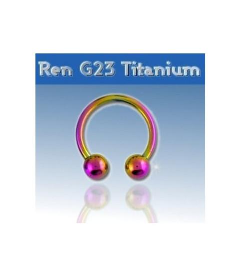 Rainbow titanium hestesko piercing G16 1.2mm