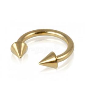 Flot guld-anodiseret ring med cones 6-8-10 mm.