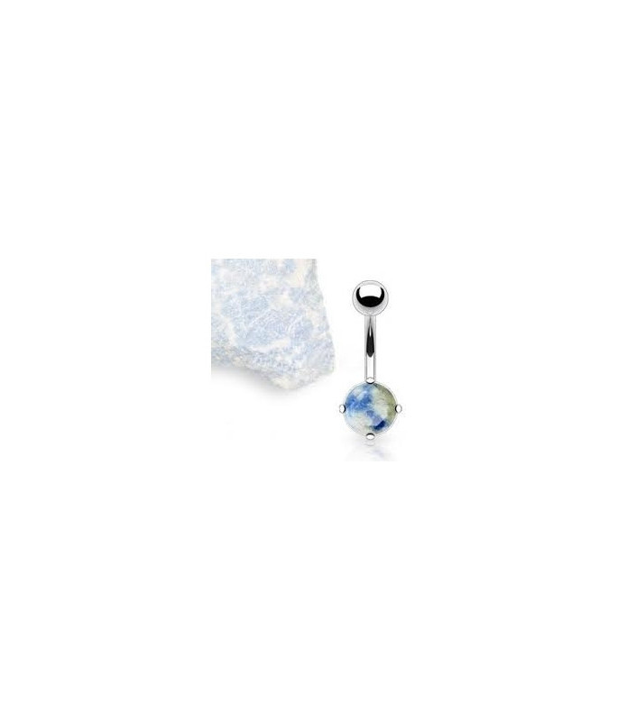 Navlepiercing med ægte blå/grå lapiz lazuli sten
