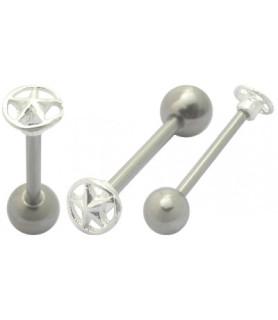Rustikke tungepiercinger med top i ægte massivt sølv