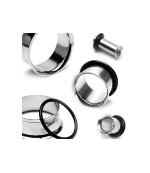 Tunnel - Rustfri kirurgisk stål -Single flared med O-ring