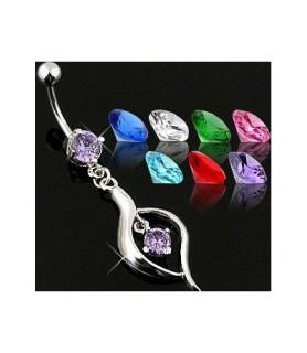 Elegante navlepiercinger i rhodium - flere farver
