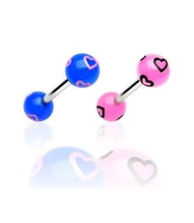 Søde tunge-piercinger med hjerter