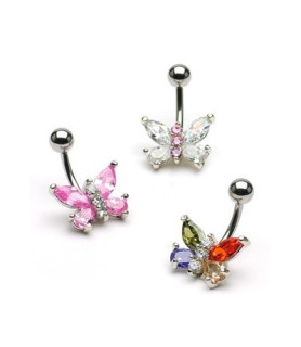 Navlepiercinger flotte sommerfugle 3 designs